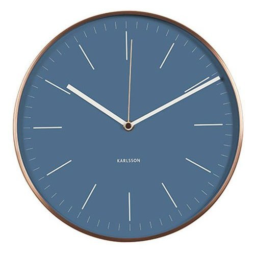 "Karlsson ""Minimal Jeans Wall Clock with Copper Case, Blue"