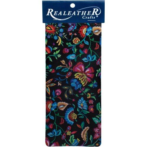 "Realeather Crafts Goat Leather Trim Piece 9""X3""-Kimono Black"