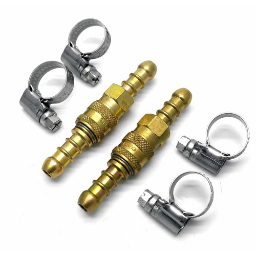 continental/1stserie 2 X Quick Release Fittings Coupling for 8mm propane/butane Hose + 4 Stainless Band Clips (65)