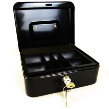 "Hyfive 8"" Black Steel Petty Cash Box Money Holder Security Safe With Keys & Tray"