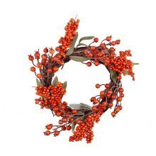 Artificial Orange Berry Christmas Wreath