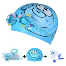 Puffer Pattern Childern Scuba Diving Free Diving Goggles & Swimming Cap, Blue