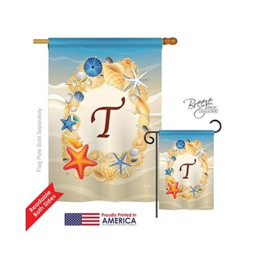 Breeze Decor 30176 Summer T Monogram 2-Sided Vertical Impression House Flag - 28 x 40 in.