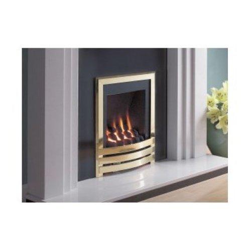 Designer Fire - Flavel FSRCU1MN Brass Windsor Slimline Contemporary Gas - MC