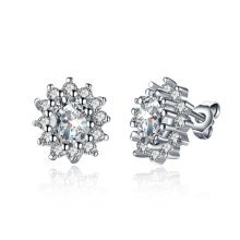 925 Silver Plated Round Crystal Stud Earrings