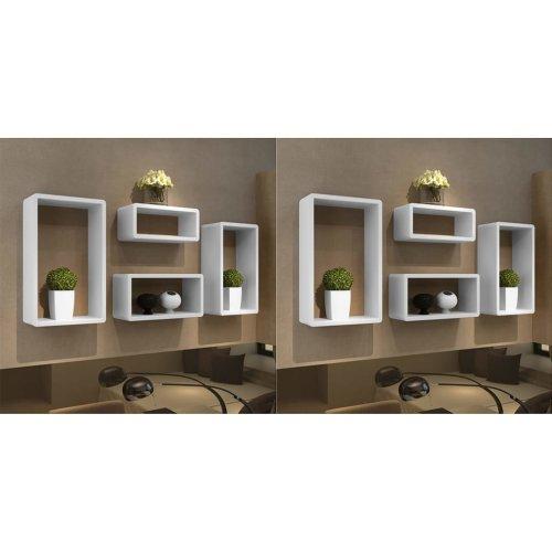 vidaXL 8x Wall Cube Shelves White Display Hanging Storage Unit Bookcase Decor