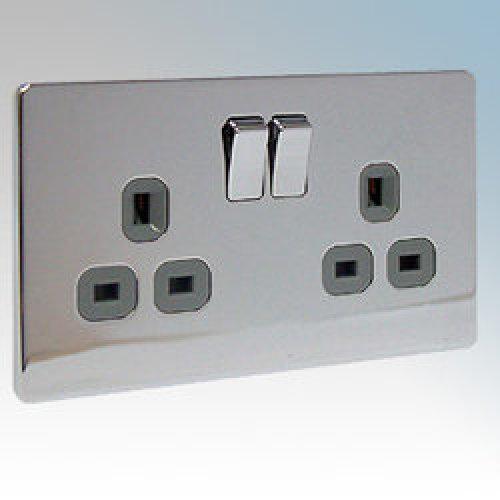 BG Flatplate Screwless 2 Gang 13A Switched Socket Chrome (Grey Inserts)