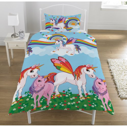KidCollection Rainbow Unicorns Single/Double Reversible Duvet Cover Bed Set (Single Duvet Cover)