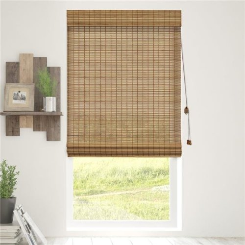 Chicology BRMS2364 Bamboo Roman Shades Wood Window Blind, Squirrel - 23 x 64 in.