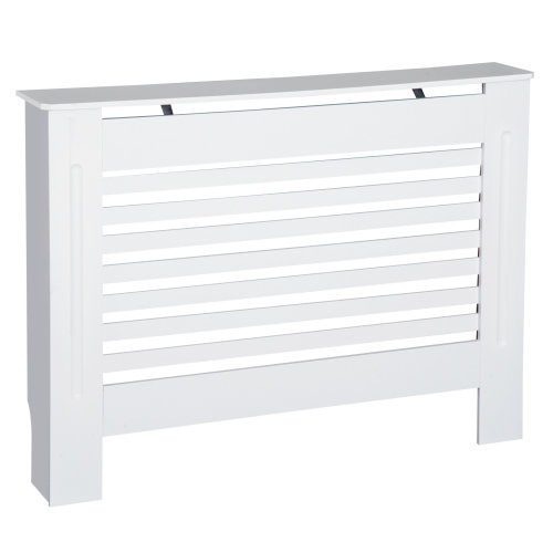 HOMCOM MDF Modern Radiator Cover Cabinet Top Shelving Home Office Slatted Design White  112L x 19W x 81H cm