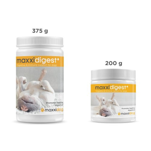 maxxidog - maxxidigest+ probiotics, prebiotics & digestion enzymes for dogs - Advanced canine digestive & immune system support – Non GMO powder - Two sizes 375 g & 200 g