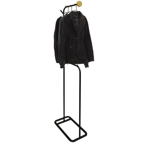 VALET - Modern Metal Clothes Storage / Open Wardrobe Hanger - Black / Natural