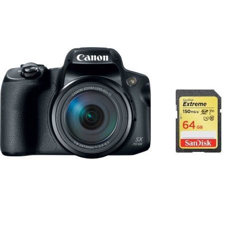 CANON PowerShot SX70 HS Black + SanDisk Extreme 64G SD card