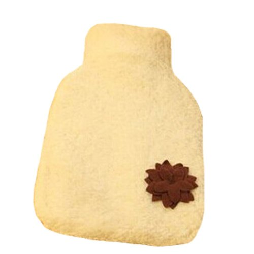Lovely Flower Design Hot Water Bottle With Cover-Beige (27x16.5cm)