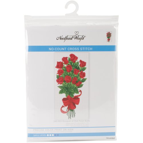 """Needleart World No Count Printed Cross Stitch Kit 11.5""""X20""""-Bouquet Of Red Rose Buds"""