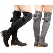 Women Over The Knee Back Lace Up Low Heel Boots