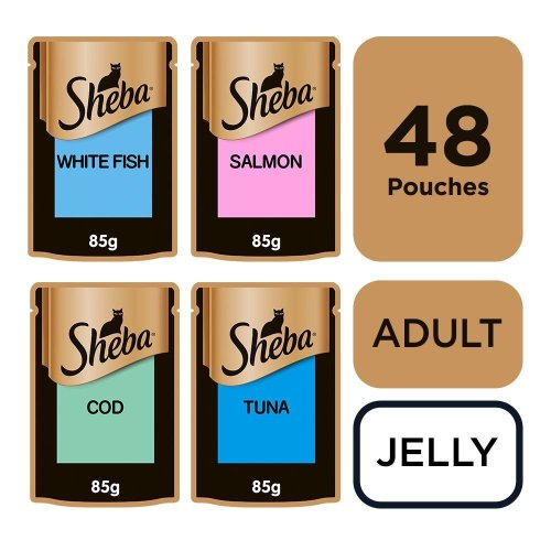 SHEBA Fine Flakes Cat Pouches Fish Collection in Jelly 12x85g (Pack of 4)