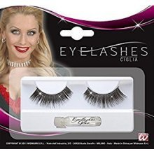 Eyelashes Black With Holographic Glitter Accessory For 70s Fancy Dress