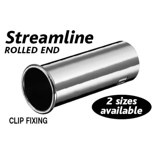 Silver Stainless Steel Streamline Rolled End Exhaust Tip - Outward 36-51mm - Silver Stainless Steel Streamline Outward Rolled End Exhaust Tip 36-51mm