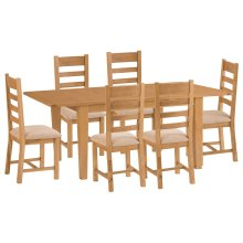 Rustic Oak 1.6m Butterfly Extending Table & 6 Fabric Seat Chairs