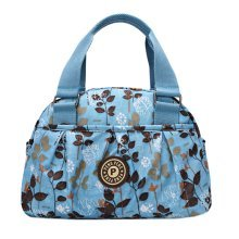 Women Waterproof Zipper Tote Bag Handbag Messenger Bag, Blue, Leave