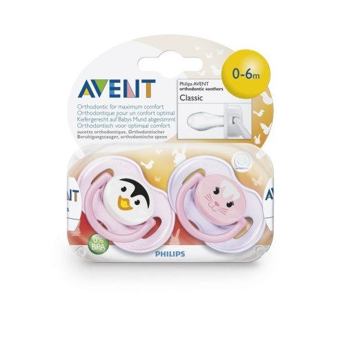 Philips Avent Bpa-free Animal Soothers (0-6 Months) 2 Pack Scf182/33