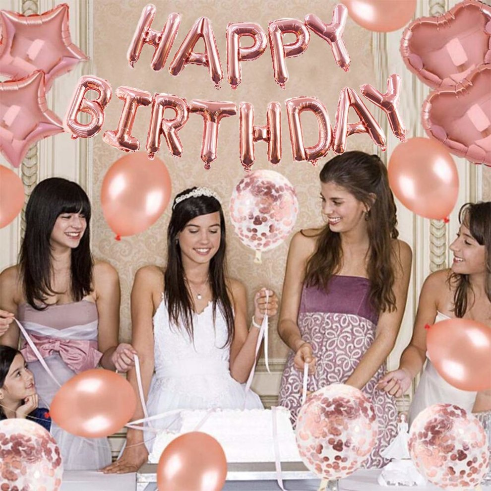 Yoart 40th Birthday Decorations Rose Gold For Women And Girl Party Supplies 39 Piece With Happy