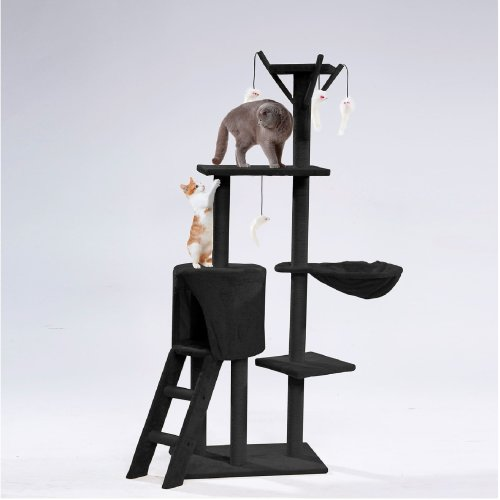 Cat Tree Scratching Climbing Post ladder Jumping Sleeping Pet Kitten Play Toy[Black]