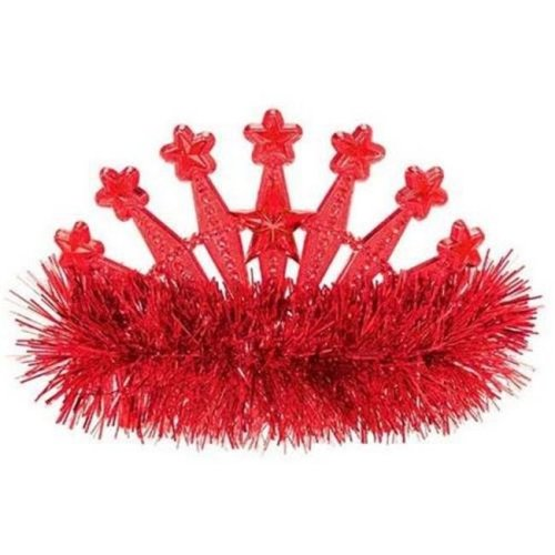 Amscan 395896.40 Star Tinsel Tiara, Apple Red - Pack of 9