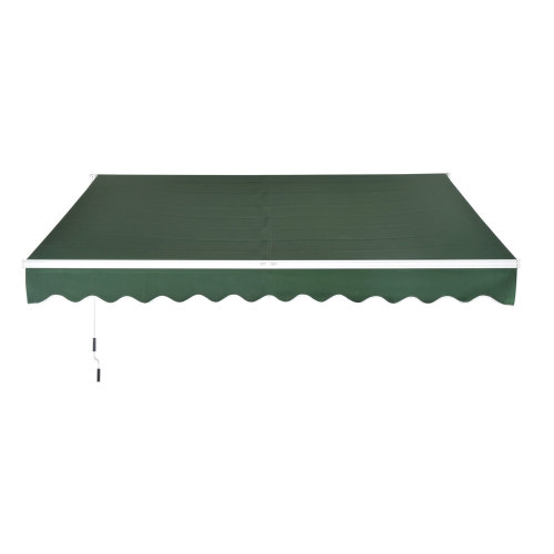 Outsunny Window Awning Canopy Sun Shade UV Blocker w/ Hand Crank (3 x 2m, Dark Green)
