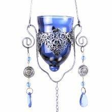 Single Hanging Blue Glass Home or Garden Tealight Holder