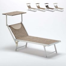Sun Lounger with Head Shade Reclining Back Limited Edition SANTORINI