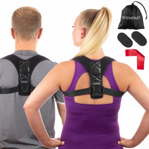 450a19d21e99 OrthoRight Posture Corrector Back Shoulder Support for Men Women - Spine  Brace for Neck & Upper Back Pain Relief, Adjustable Sports Support  Trainer...