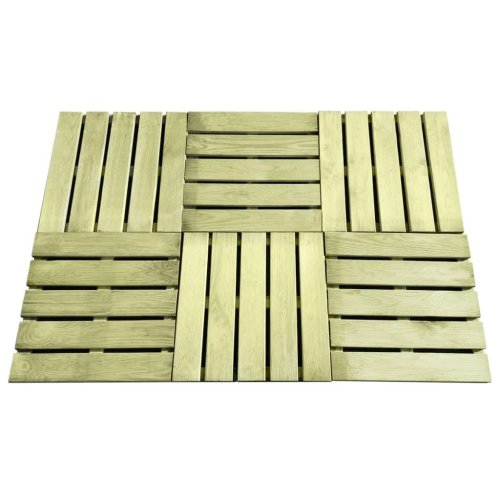 vidaXL 6x Decking Tiles 50x50cm FSC Wood Green Patio Floor Carpet Board Sheet