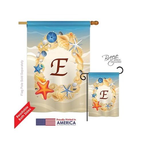 Breeze Decor 30161 Summer E Monogram 2-Sided Vertical Impression House Flag - 28 x 40 in.