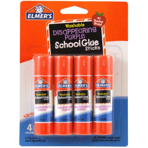 Elmer's Washable School Glue Sticks - Purple 4/Pkg-.24oz