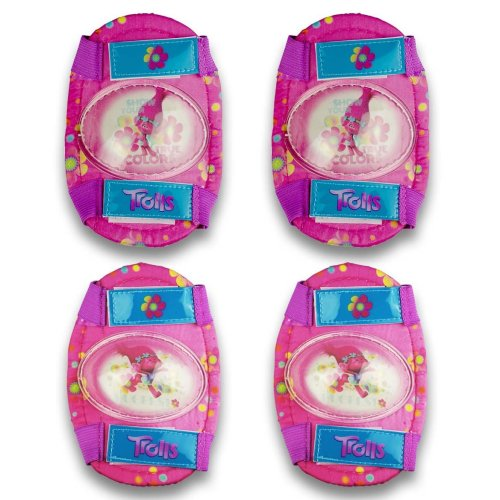 Trolls Girls Pink Knee and Elbow Pads, One Size