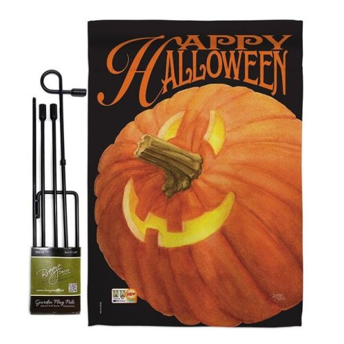 Breeze Decor BD-HO-GS-112057-IP-BO-D-US12-AM 13 x 18.5 in. Jack O Lantern Fall Halloween Vertical Double Sided Mini Garden Flag Set with Banner Pole