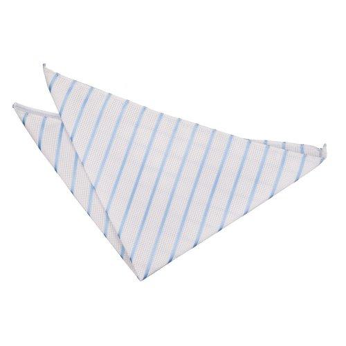 White & Baby Blue Single Stripe Pocket Square