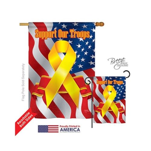 Breeze Decor 08059 Military Support Our Troops 2-Sided Vertical Impression House Flag - 28 x 40 in.