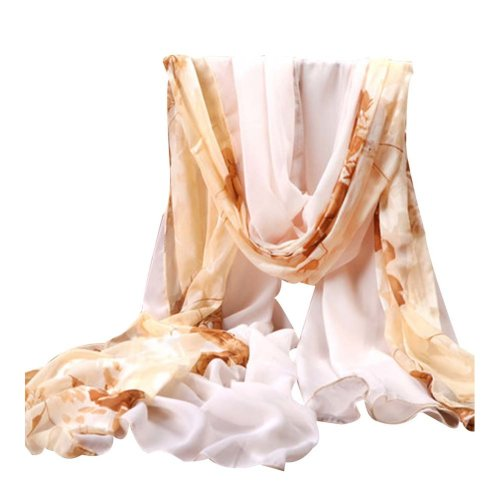Light Coffee, Elegance Shawl Uv-blocking Silk Scarves Chiffon Fabric Beach Towel