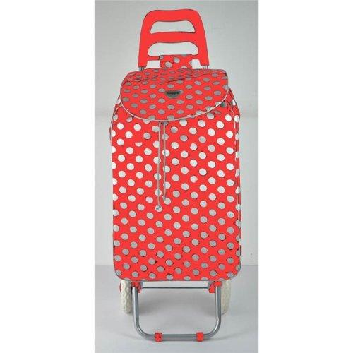 23 Inch Polka Dot Shopping Trolley Red/White