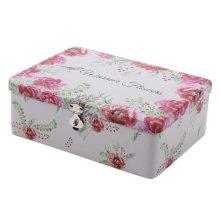 Lovely Password Box Desktop Storage/Cosmetics Box Lock With Iron Box-Flower