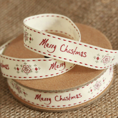 East of India 'Merry Christmas' Snowflakes Christmas Ribbon 3 Metres Craft Wrap