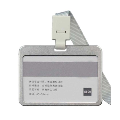 Aluminum Alloy Horizontal ID Card Badge Holder with Neck Lanyard Strap 3PCS, 43