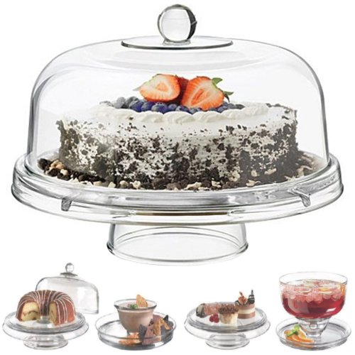 Multi Functional 6in1 Clear Cake Stand Dome Platter Dip Server Punch Salad Bowl