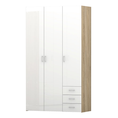 Triple Wardrobe 3 Door 3 Drawer Robe Clothes Storage Hanging Shelving Oak White