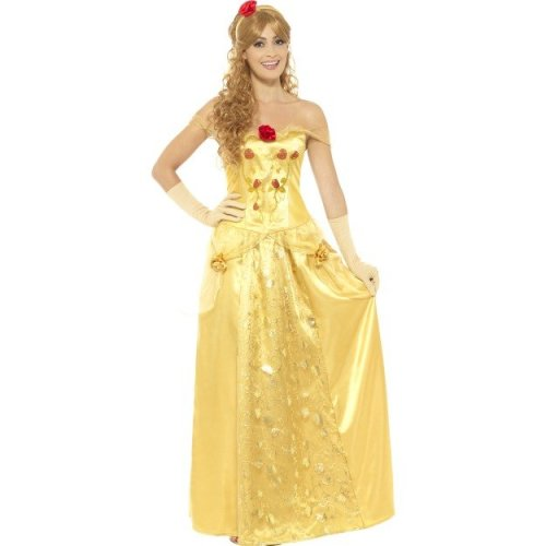 Uk 12-14 Women's Golden Princess Costume -  princess costume fancy dress ladies golden adult fairytale belle womens beauty book day outfit