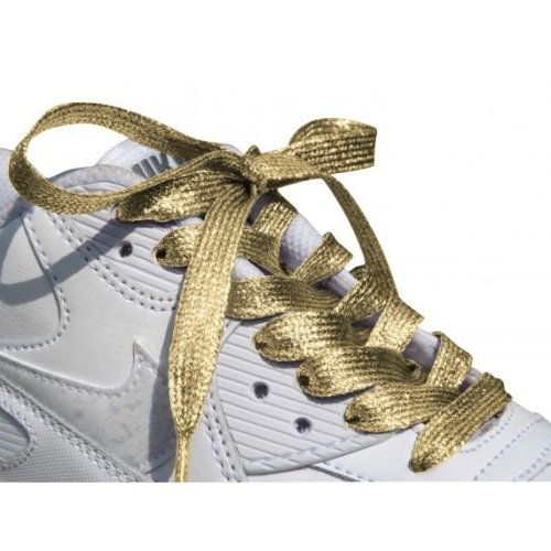 Gold Glitter Metallic Sparkly Flat Shoelaces