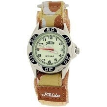 Relda Nite-Glo Luminous Dial Beige Camouflage Army Velcro Boys Watch REL66